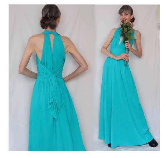 S/M MERMAID'S DREAM vintage maxi dress gown - halt