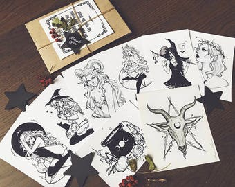 Ultimate inktober set limited edition halloween occult witchy cats pumpkin gothic fantasy dark got artprint