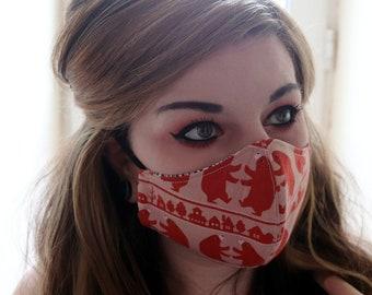 Handmade Bear Kokka Cotton Two-Layer Face Mask, Washable and Reuseable
