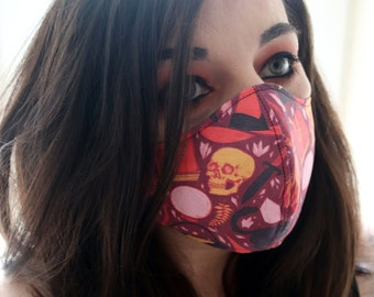 Handmade Witch Skull & Cat Cotton Two-Layer Face Mask, Washable and Reuseable