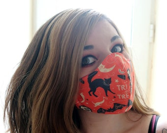 Handmade Halloween Trick Or Treat Cotton Two-Layer Face Mask, Washable and Reuseable