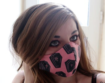 Handmade Halloween Black And Pink Coffin Cotton Two-Layer Face Mask, Washable and Reuseable
