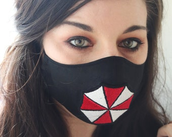 Handmade Resident Evil Umbrella Corporation Cotton Two-Layer Face Mask, Washable and Reuseable