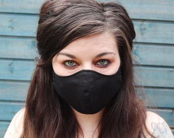Handmade Black Plain Cotton Two-Layer Face Mask, Washable and Reuseable