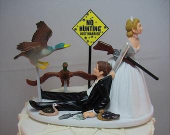 NO HUNTING Ducks with Gun Rifle Shotgun Bride and Groom Wedding Cake Topper Funny Grooms Cake