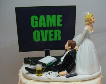 Game Over Or Any Image Funny Wedding Cake Topper Custom Gaming Junkie Addict Rehearsal Gamer Groom S Bride Veil Xbox Beer