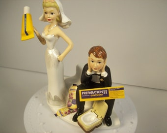 Funny wedding cake toppers etsy preparation h funny wedding cake topper hemorrhoids bride and groom with toilet grooms cake junglespirit Choice Image