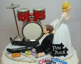 6dbc7a894cd3 No more ROCKIN Red Drums Funny Wedding Cake Topper Rockstar Rocker Bride  and Groom Rock n Roll Groom Drum set