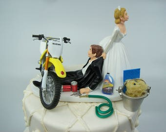 Motorcycle Dirt Bike Wedding Cake Topper Bride and Groom | Etsy