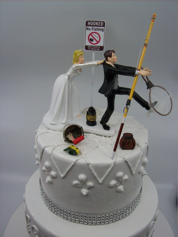 No FISHING Come back ! Funny Wedding Cake Topper Bride and Groom Angler  Best Catch Fisherman Simple