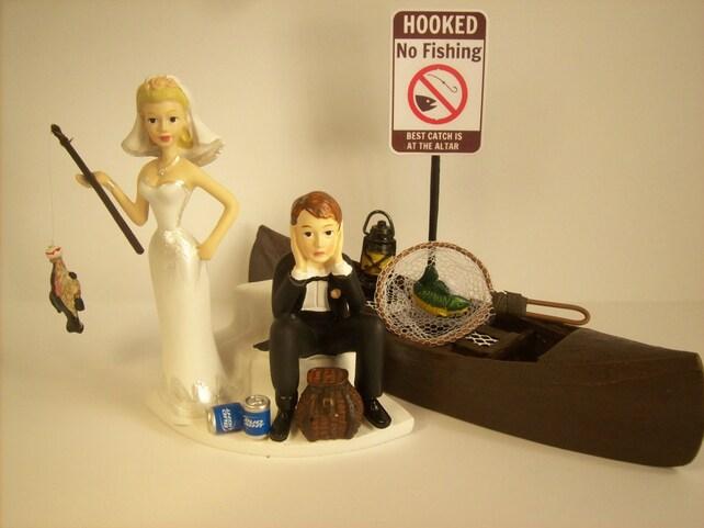 Got the Pole No FISHING Funny Wedding Cake Topper w/ Boat | Etsy