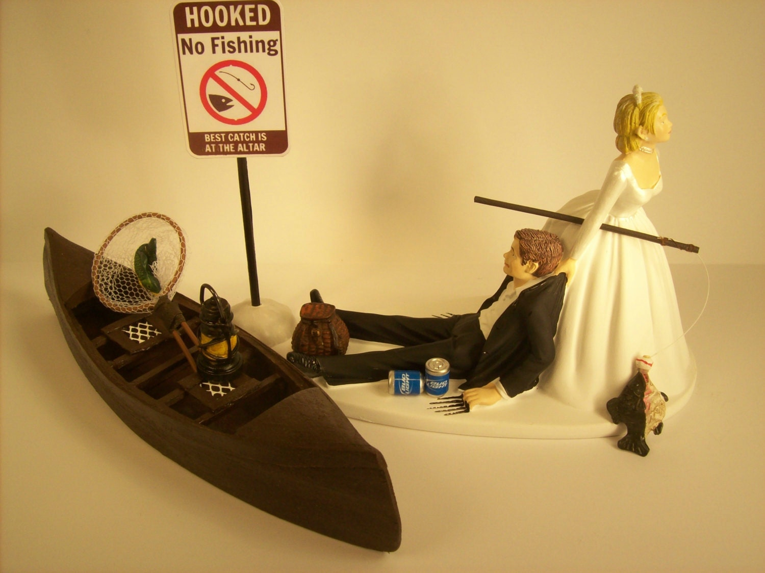 No FISHING Funny Wedding Cake Topper w/ Boat Bride and Groom | Etsy