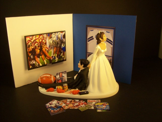FOOTBALL Fan Game Cowboys Man Cave Funny Wedding Cake Topper | Etsy