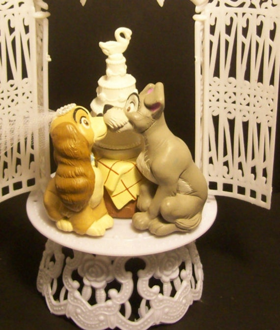 Lady and the Tramp Kiss La Bella Notte WEDDING CAKE TOPPER Dog   Etsy