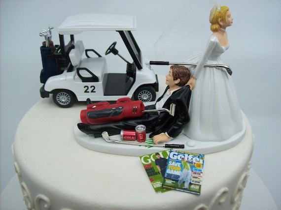 NO GOLF with Cart Bride and Groom Wedding Cake Topper Funny | Etsy Decorate A Golf Cart For Thanks on decorate a 4 wheeler, halloween decorating ideas golf cart, decorate a wheelchair, decorate a shopping cart,