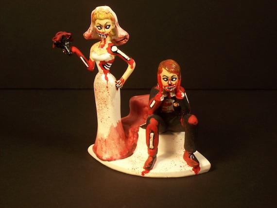 Zombie Braut Brautigam Paar Mit Rosen Hochzeitstorte Topper Etsy
