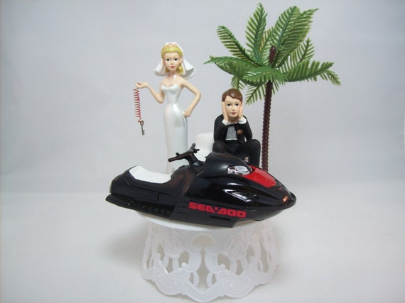JET Ski WEDDING Cake TOPPER W/Die Cast Black Ski Sea Doo Wave Runner Water  Funny