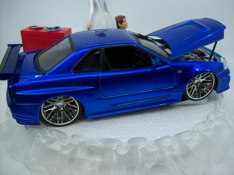 Auto Mechanic Bride And Groom Nissan Skyline Gtr R34 Blue Car Funny Wedding Cake Topper Groom S Cake