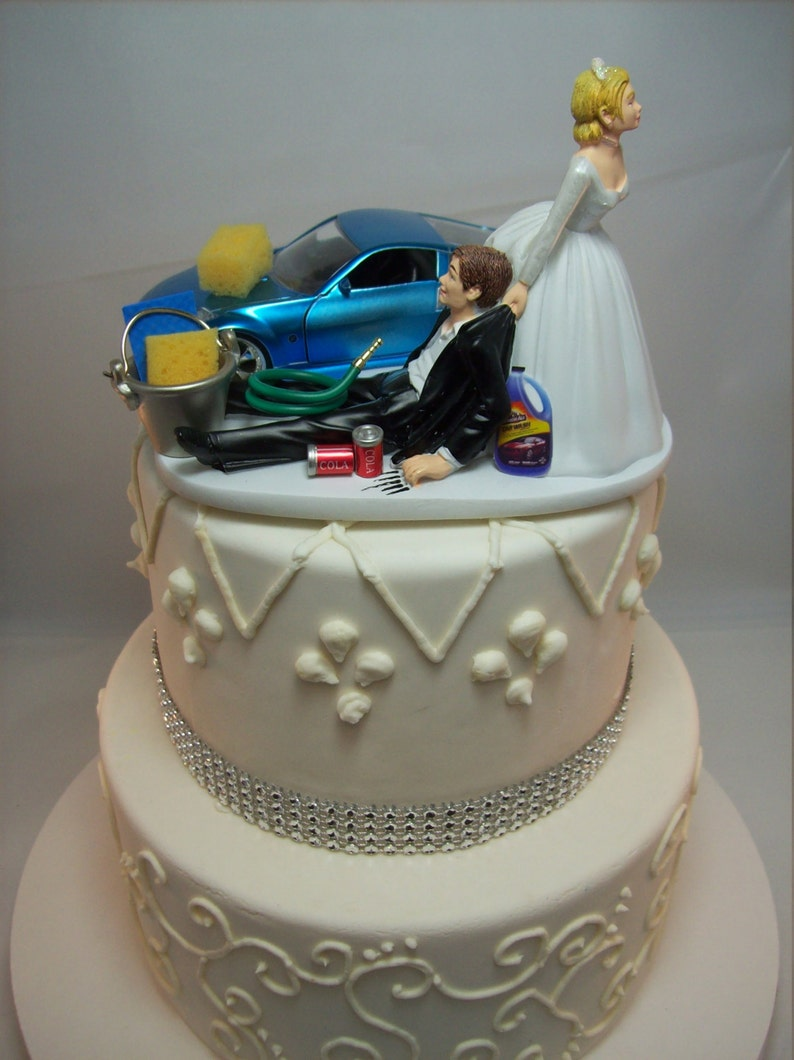 Funny Car Wash 2003 Nissan 350Z Blue Auto Wedding Cake topper Sports Mr  Mechanic Love Mrs Baby