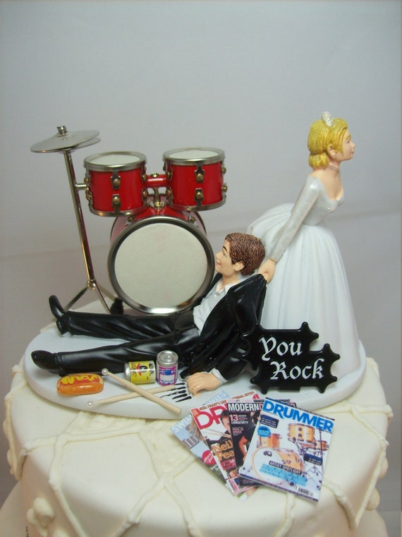 No more ROCKIN Red Drums Funny Wedding Cake Topper ...
