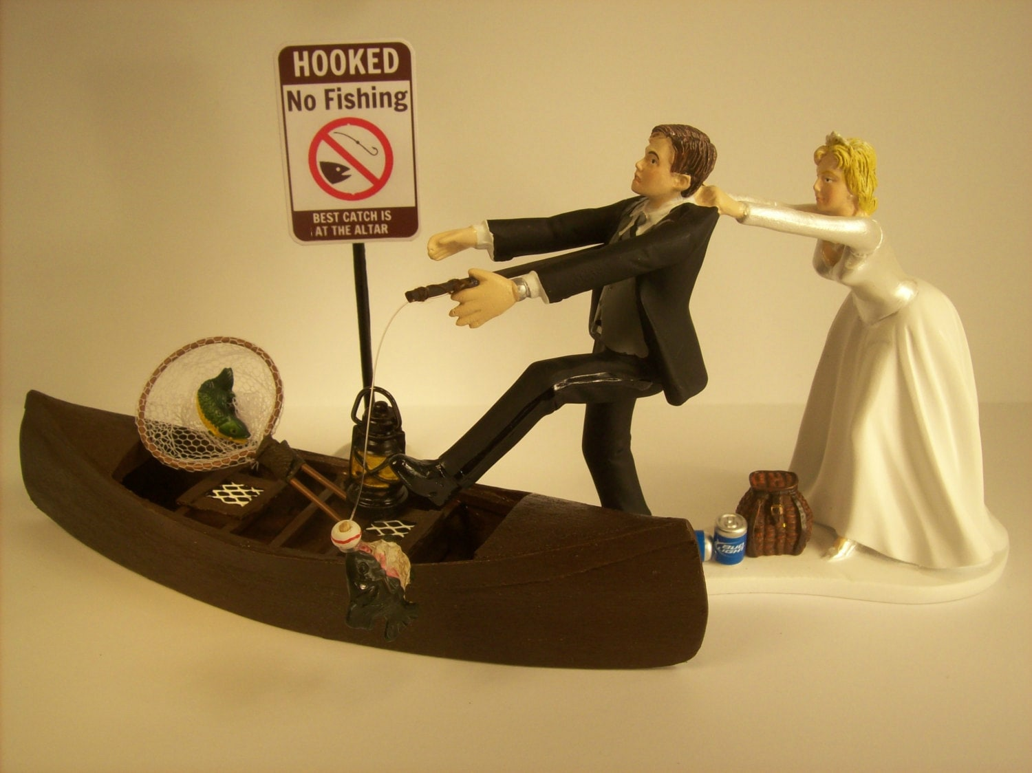 No FISHING Come back Funny Wedding Cake Topper w/ Boat Bride | Etsy