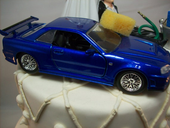 Funny Car Wash 2002 Nissan Skyline Gtr R34 Blue Fast Auto Wedding Cake Topper Mr Mechanic Love Mrs Baby