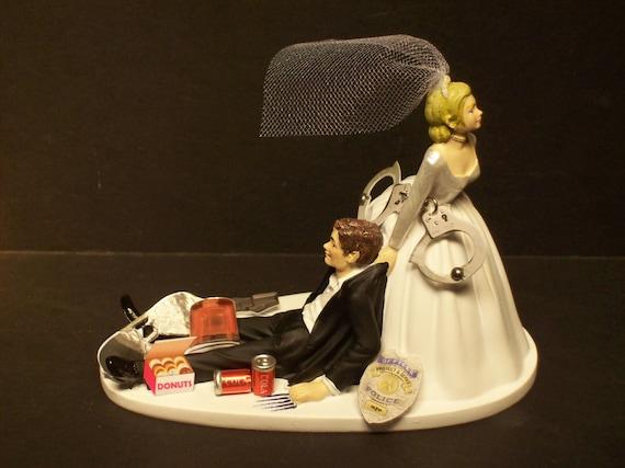 Police Wedding Cake Topper Funny Highway Patrol Cop Etsy