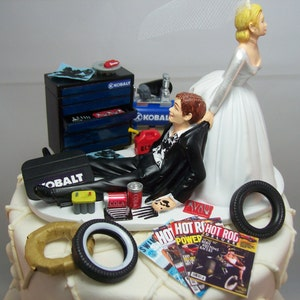 Funny Wedding Cake Topper for Mechanics Auto MECHANIC Custom Blue SNAP-ON Tools Awesome Groom/'s Cake Perfect Humorous Rehearsal Dinner Brown