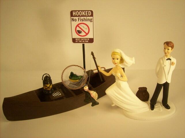 No FISHING Running Bride Funny Wedding Cake Topper w/ Boat | Etsy