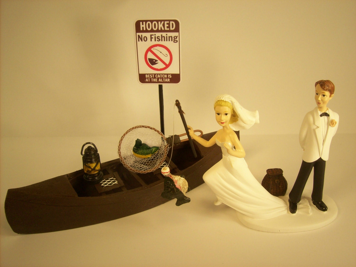 No FISHING Running Bride Funny Wedding Cake Topper w/ Boat | Etsy