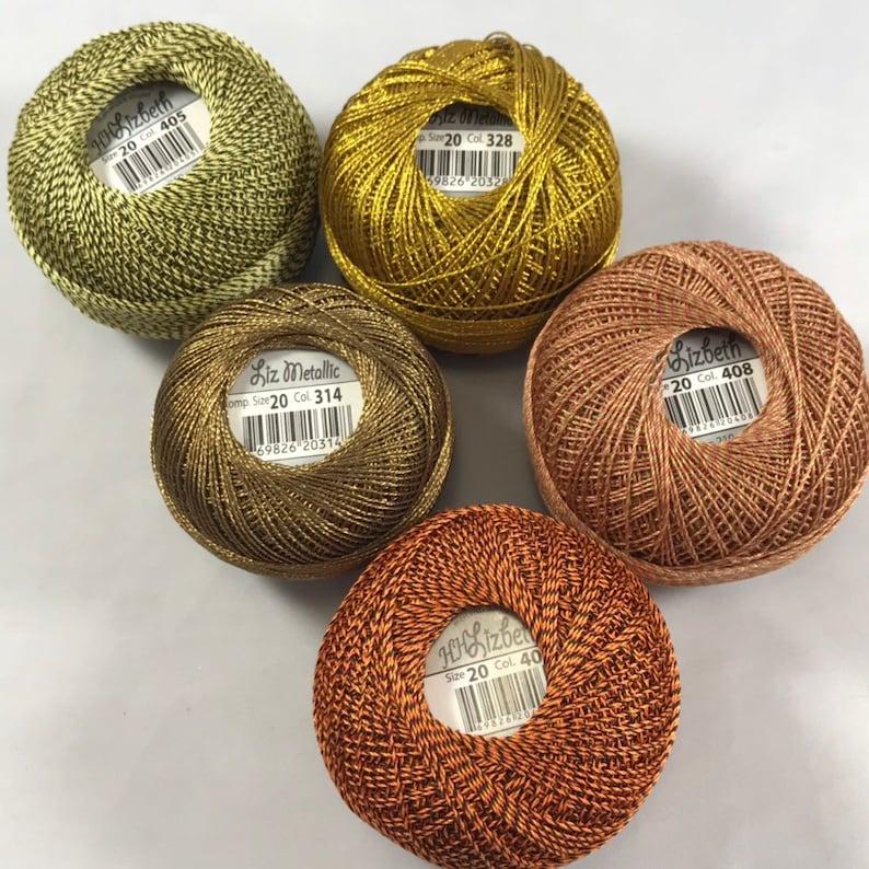 FULL SPOOLS October Fest 5 Pack Lizbeth Tatting Thread Colors 405, 328, 406, 314, and 408 Size 20