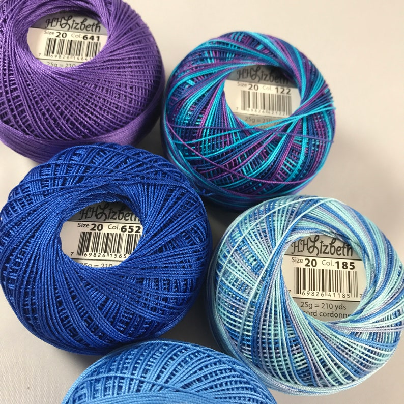 Colors 641, 704, 652, 122 and 185 Lizbeth Tatting Thread FULL SPOOLS Caribbean Colors 5 Pack Size 20 or 40