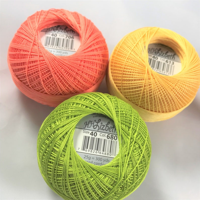 680 and 706 Lizbeth Tatting Thread Your Choice of Amount Colors 613 Size 20 or 40 Citrus Three Pack
