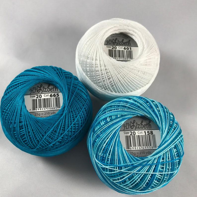 Your Choice of Amount 665 158 and 601 Lizbeth Tatting Thread Niagara FallsSnow WhiteDark Ocean Teal 3 Pack Size 20 or 40