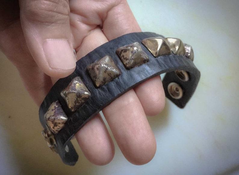 45be2aaf8859b5 Punk Stud Black Leather Bracelet | Etsy