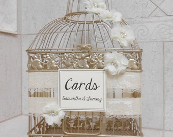 Bling Champagne Gold Wedding Birdcage Card Holder | Wedding Card Box | Wedding Card Holder | Bling Wedding Decor