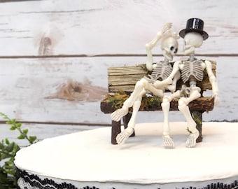 Rustic Woodland Moss Bench Skeleton Bride & Groom Wedding Cake Topper | Woodland Wedding Decor | Skull Cake Topper | Park Bench Cake Topper