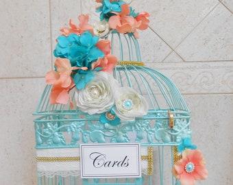 LOCKABLE Summer Beach Wedding Birdcage Card Holder | Coral & Gold Card Box | Sea Mist Blue/Green Floral Wedding Decoration | Locked Card Box