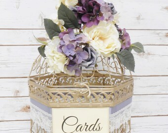 XL Lavender Eggplant Purple Wedding Birdcage Card Holder   Wedding Card Box   Champagne Gold Cage   Purple Bird Cage Decor   Spring Wedding