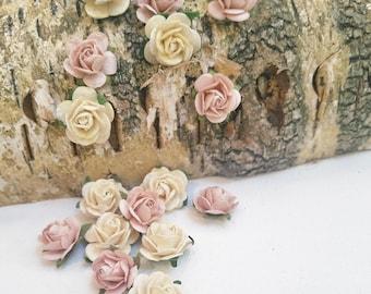 Set of 20 Blush and Ivory Paper Roses   Mini Paper Flowers   Blush Roses   Ivory Roses   Artificial Flowers   Tiny Roses   DIY Wedding