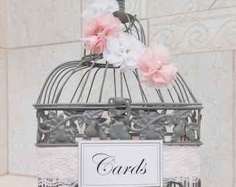Small Gray Wedding Birdcage Card Holder | Pink and White | Wedding Card Box | Wedding Decor | Wedding Boxes | Money Holder
