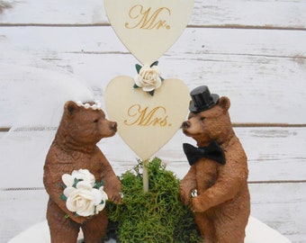 Brown Grizzly Bear Animal Wedding Cake Topper | Rustic Country Wedding Decor | Nature Wildlife Outdoor Woodland Wedding | Mr & Mrs