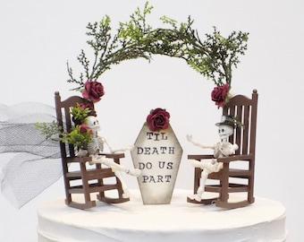 Til Death Do Us Part Miniature Fairy Garden Skeleton Couple Wedding Cake Topper | English Rose Garden Cake Decoration | Gothic Cake Topper