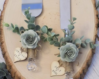 Personalized Rustic Eucalyptus Wedding Cake Serving Set with Wooden Heart Tags | Floral Cake Knife and Server Set Wrapped in Twine