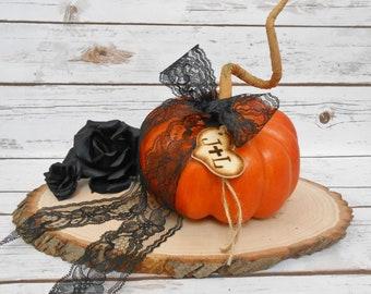 Black Lace Pumpkin Ring Bearer Pillow | Wedding Ring Pillow | Ring Box | Gothic Halloween | Fall Decorations | Ring Pillow Alternative