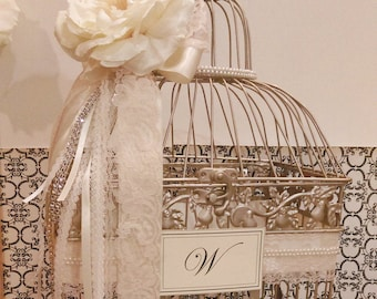 Champagne Gold Ivory and Pearls Wedding Birdcage Card Holder | Wedding Card Box | Pearl Wedding Decor | Lace