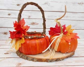 d042abc931a Pumpkin Flower Girl Basket   Ring Bearer Pumpkin Pillow