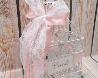 White Wedding BIrdcage Card Holder | Wedding Card Box | Wedding Shower | Bridal Shower | Baby Shower