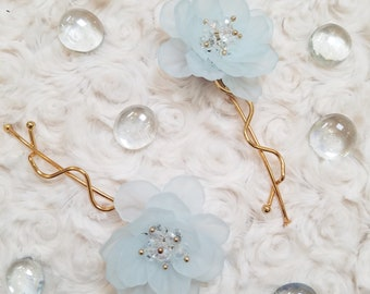 Floral Hair Pins | Light Blue Rose Wedding Hair Clips | Gold Bobby Pin | Bridal Party Accessories | Flowers for Hair | Something Blue