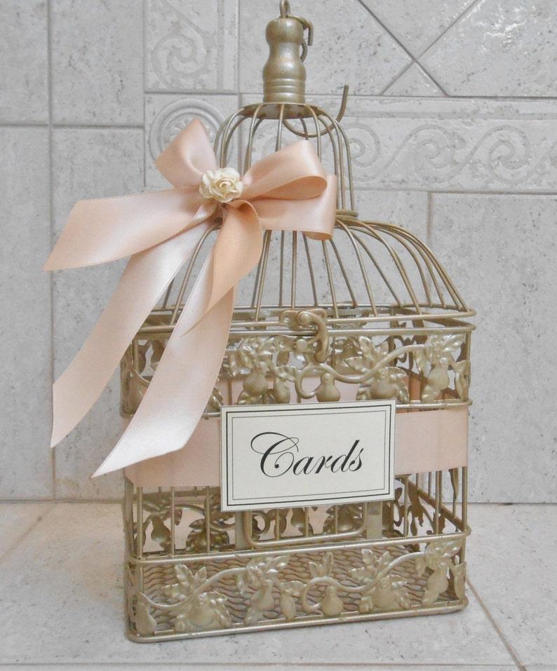 Champagne Gold  and Blush Wedding Card Box  Wedding Card image 1